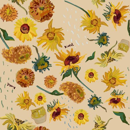 Sunflower flowers on a background of beige. Vector illustration based on the oil painting of Van Gogh.