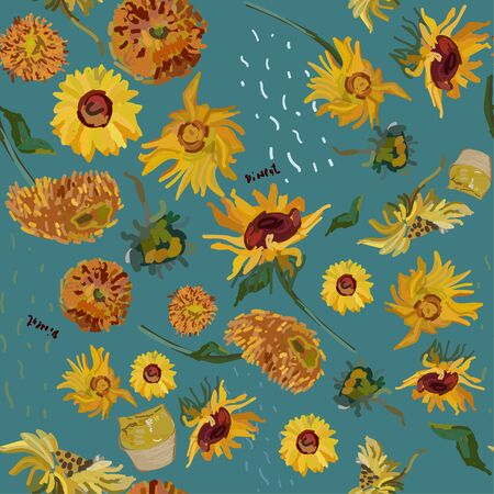 Sunflower flowers on a background of blue marine. Vector illustration based on the oil painting of Van Gogh.