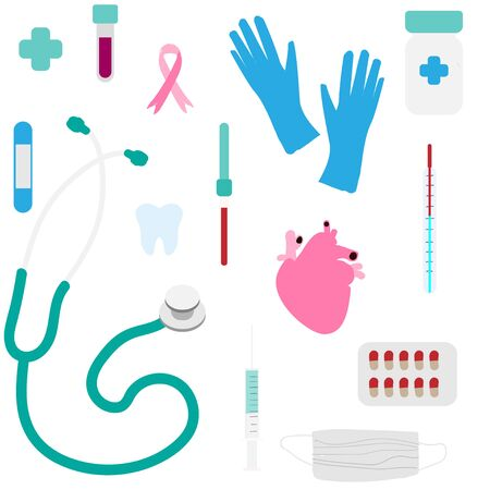 Medicine items: tablets, stethoscope, thermometer, pipette, syringe, adhesive plaster, flask, tooth, gauze bandage, surgical gloves seamless pattern  イラスト・ベクター素材