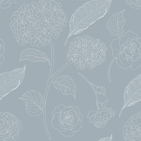 Drawn hydrangea, roses and leaves seamless pattern. Monochrome image of flowers vector illustration. Imitation of pencil drawing.