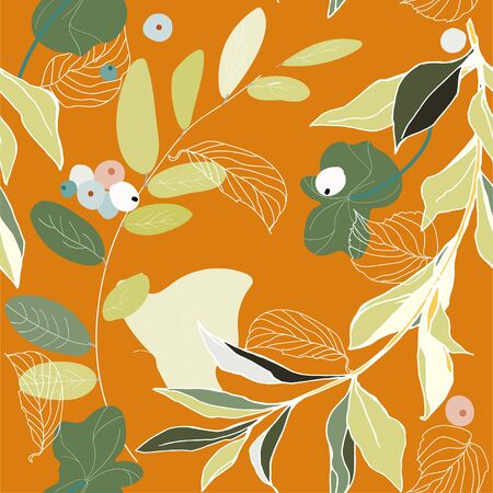 Branches, berries and leaves seamless pattern. Vector illustration.