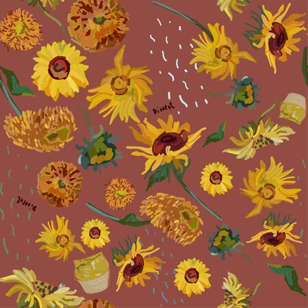 Sunflower flowers on a background of red. Vector illustration based on the oil painting of Van Gogh.