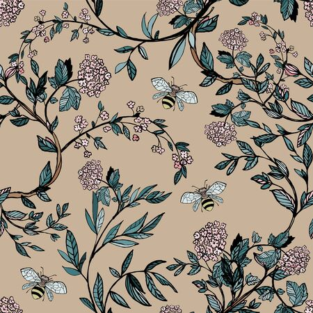 Branches of flowering trees vector illustration. Seamless pattern with bees, twigs, leaves and flowers on a cream background.
