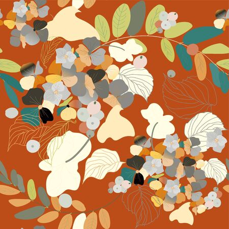 Hydrangea flowers, decorative berries and leaves. Seamless pattern. Garden plants vector illustration.