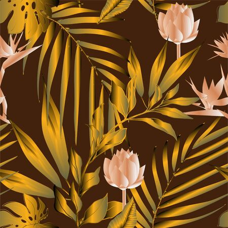 Lotus flowers surrounded by palm leaves seamless pattern. Vector illustration with tropical plants.
