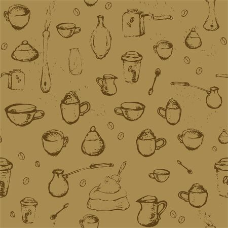 Pencil drawing of coffee elements, mugs, coffee grinder, spoons, turk for making coffee on beige background. Vector illustration. Seamless pattern for coffee houses or store.
