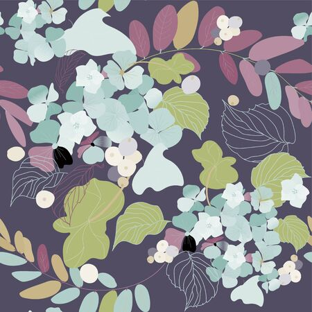 Hydrangea flowers, decorative berries and leaves. Seamless pattern. Garden plants vector illustration. Illusztráció
