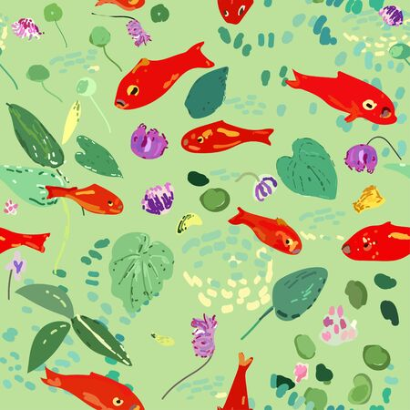 Red fish on a green background, leaves, algae and flowers. Seamless vector pattern based on Matisse oil painting. Ilustrace