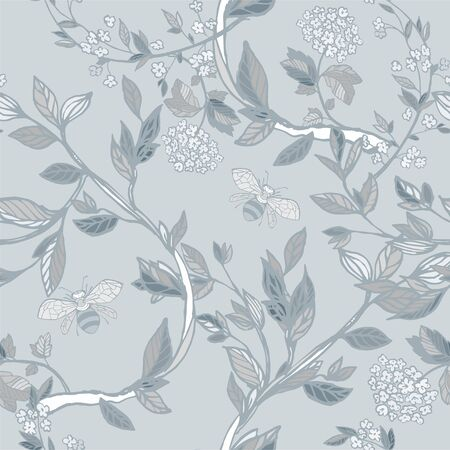 Branches of flowering trees vector illustration. Seamless pattern with bees, twigs, leaves and flowers on a white, grey background.