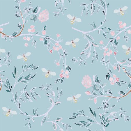 Branches of flowering trees vector illustration. Seamless pattern with bees, twigs, leaves and flowers on a light blue background.