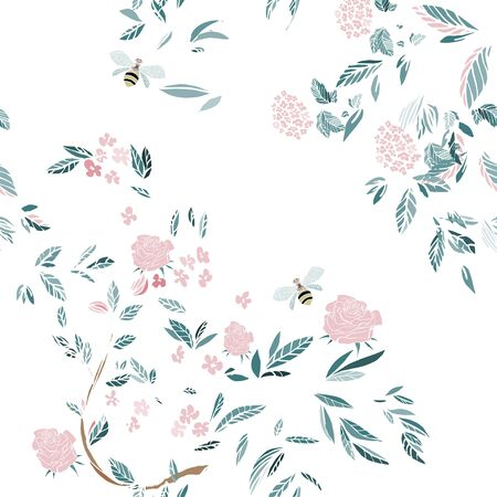 Branches of flowering trees vector illustration. Seamless pattern with bees, twigs, leaves and flowers on a white background.