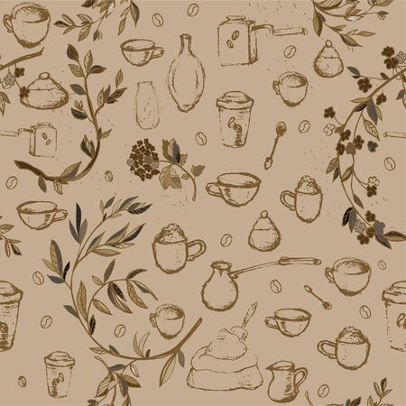 Pencil drawing of coffee elements, mugs, coffee grinder, spoons, turk for making coffee and flower branches. Vector illustration. Seamless pattern for coffee houses or store. Cream, beige colors Illusztráció