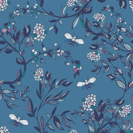 Branches of flowering trees vector illustration. Seamless pattern with bees, twigs, leaves and flowers on a blue background.