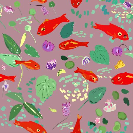 Red fish on a lilac background, leaves, algae and flowers. Seamless vector pattern based on Matisse oil painting.