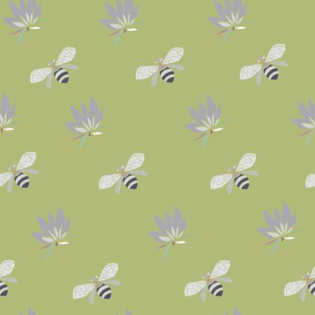 Flowers and bees vector illustration. Seamless pattern chartreuse green background. Illusztráció