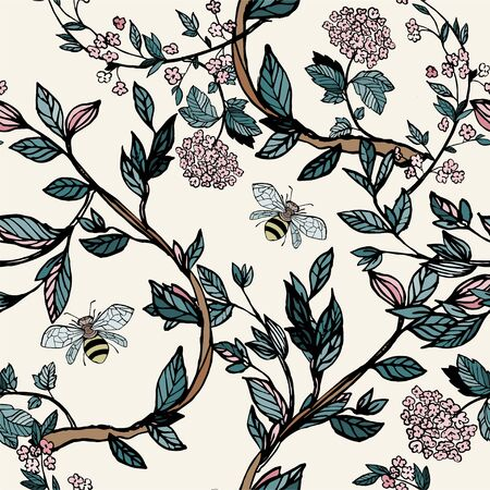 Branches of flowering trees vector illustration. Seamless pattern with bees, twigs, leaves and flowers on a white, cream background.