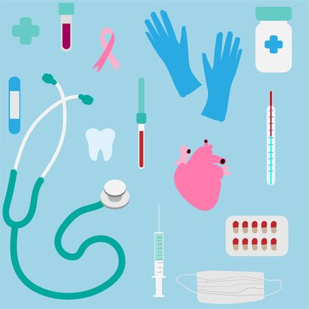 Medicine items: tablets, stethoscope, thermometer, pipette, syringe, adhesive plaster, flask, tooth, gauze bandage, surgical gloves seamless pattern.  イラスト・ベクター素材