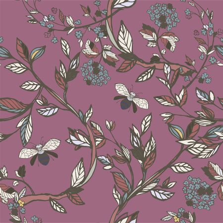 Branches of flowering trees vector illustration. Seamless pattern with bees, twigs, leaves and flowers on a purple, lilac background.