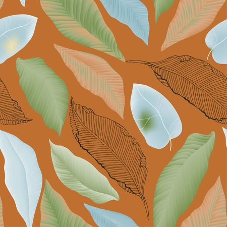 Seamless pattern with flower and leaves of peonies. Tropical flowers vector illustration. Banque d'images - 140907790