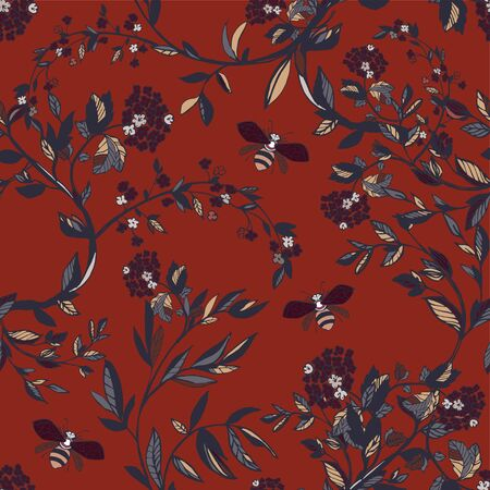 Branches of flowering trees vector illustration. Seamless pattern with bees, twigs, leaves and flowers on a red background.
