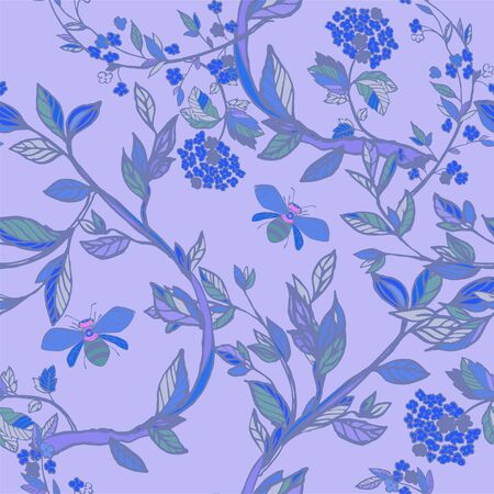 Branches of flowering trees vector illustration. Seamless pattern with bees, twigs, leaves and flowers on a blue, lilac background. Ilustracja