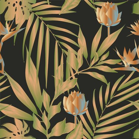 Lotus flowers surrounded by palm leaves seamless pattern. Vector illustration with tropical plants. Banque d'images - 140907796