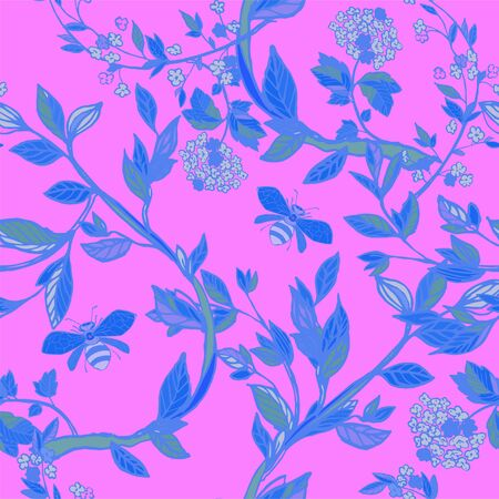 Branches of flowering trees vector illustration. Seamless pattern with bees, twigs, leaves and flowers on a pink, lilac background.