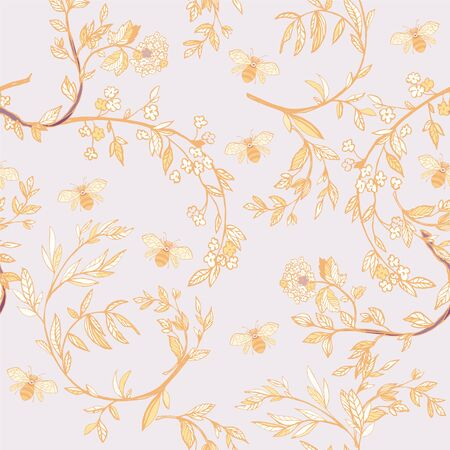 Branches of flowering trees vector illustration. Seamless pattern with bees, twigs, leaves and flowers on a lilac gold background.