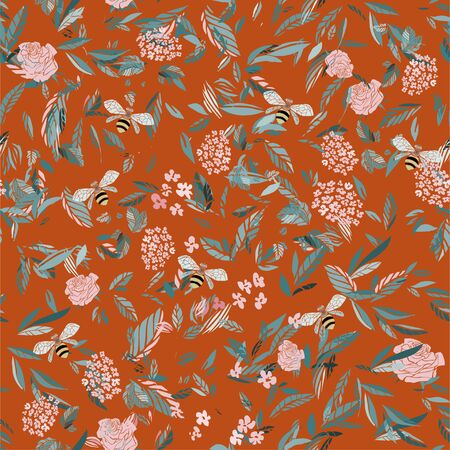 Branches of flowering trees vector illustration. Seamless pattern with bees, twigs, leaves and flowers on a orange tangerine background.