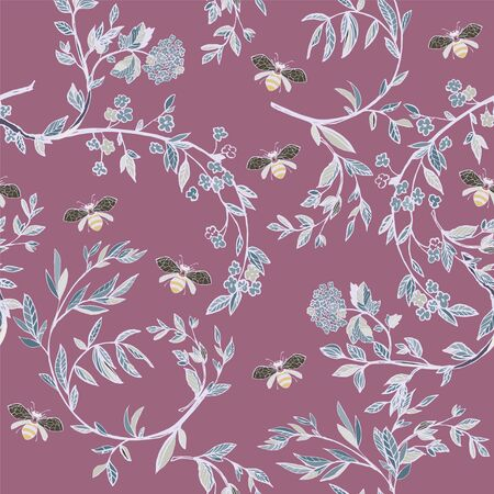 Branches of flowering trees vector illustration. Seamless pattern with bees, twigs, leaves and flowers on a lilac background.