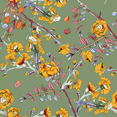 Seamless pattern with blossom flowers sakura tree. Vector illustration with plants wild roses. Gentle pastel colors. Banque d'images - 140907768