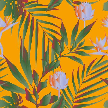 Lotus flowers surrounded by palm leaves seamless pattern. Vector illustration with tropical plants. Banque d'images - 140907769