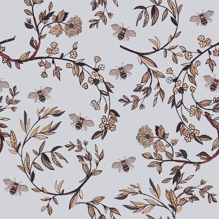 Branches of flowering trees vector illustration. Seamless pattern with bees, twigs, leaves and flowers on a grey lilac background.