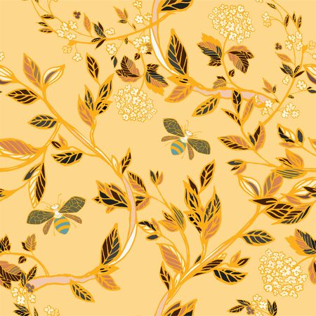 Branches of flowering trees vector illustration. Seamless pattern with bees, twigs, leaves and flowers on a yellow, orange background. Ilustracja