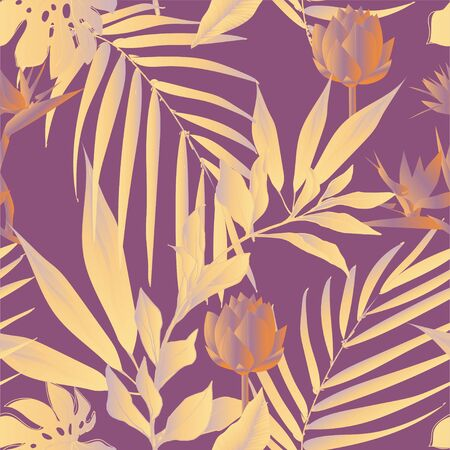 Lotus flowers surrounded by palm leaves seamless pattern. Vector illustration with tropical plants. Banque d'images - 140907774