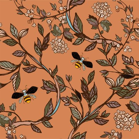 Branches of flowering trees vector illustration. Seamless pattern with bees, twigs, leaves and flowers on a orange, brown background.
