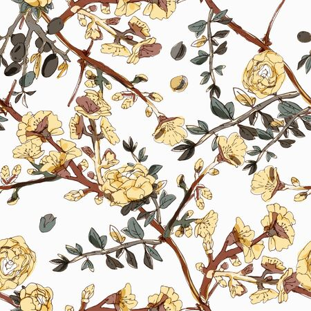 Seamless pattern with blossom flowers sakura tree. Vector illustration with plants wild roses. Gentle pastel colors. Banque d'images - 140907776