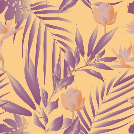 Lotus flowers surrounded by palm leaves seamless pattern. Vector illustration with tropical plants. Banque d'images - 140907748