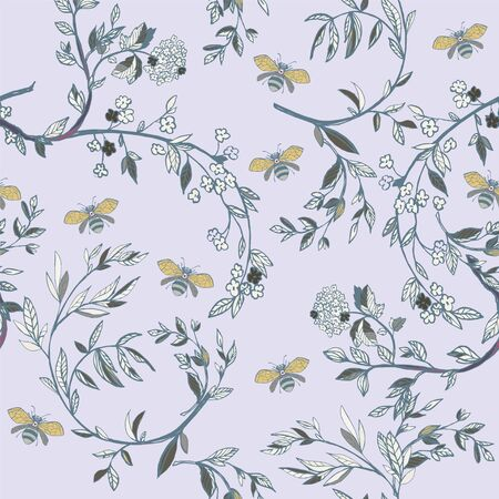 Branches of flowering trees vector illustration. Seamless pattern with bees, twigs, leaves and flowers on a lilac grey background.