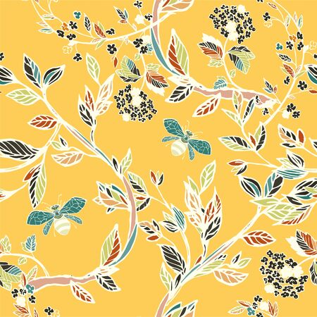 Branches of flowering trees vector illustration. Seamless pattern with bees, twigs, leaves and flowers on a yellow, ochre background. Ilustracja