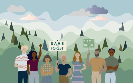 Group of people on a background of green forest hills. Demonstration against global warming, action to protect the environment. Banners with the words save the nature, save the forest.