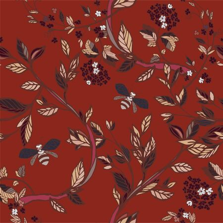 Branches of flowering trees vector illustration. Seamless pattern with bees, twigs, leaves and flowers on a bordo, red background.