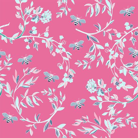 Branches of flowering trees vector illustration. Seamless pattern with bees, twigs, leaves and flowers on a pink background.
