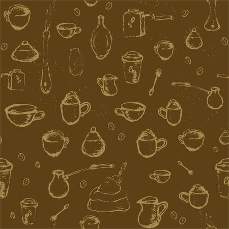 Pencil drawing of coffee elements, mugs, coffee grinder, spoons, turk for making coffee on brown background. Vector illustration. Seamless pattern for coffee houses or store.