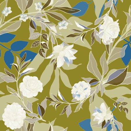 Seamless pattern  white roses and blue leaves on sage green background. Tropical flowers, lily. Vector illustration  plants.