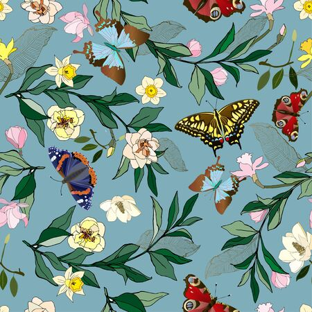 Seamless vector pattern with pink and yellow roses and daffodils flowers. Illustration with colorful butterflies and green leaves on a blue background.