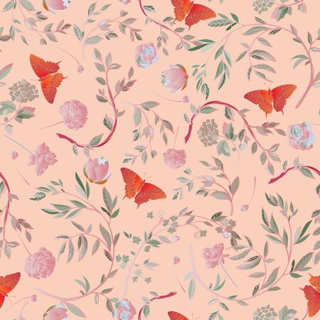 Red butterfly framed by graceful floral branches seamless pattern. Vector illustration with pink
