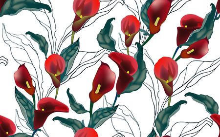 Red callas flowers with green leaves on a white background seamless patern. Vector illustration with large inflorescences of plants.
