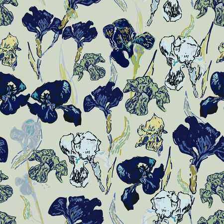 Irises flowers on a background of beige, cream color. Vector illustration, seamless pattern based on the oil painting of Van Gogh.