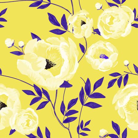 Large white buds and peonies flowers surrounded by violet leaves on a lemon yellow background. Floral seamless pattern. Vector illustration with plants. Vector Illustration